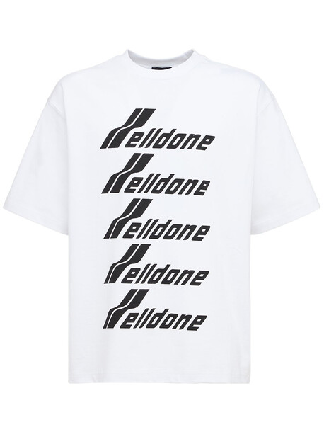WE11DONE Logo Cotton Jersey T-shirt in black / white