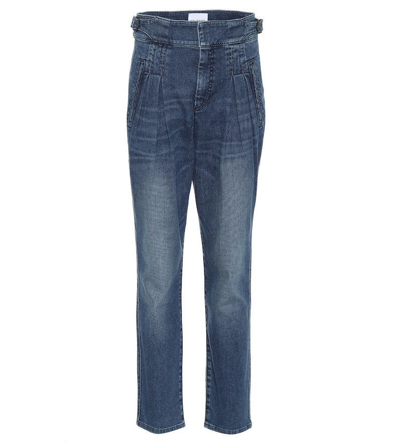 COLOVOS Box Pleat high-rise jeans in blue