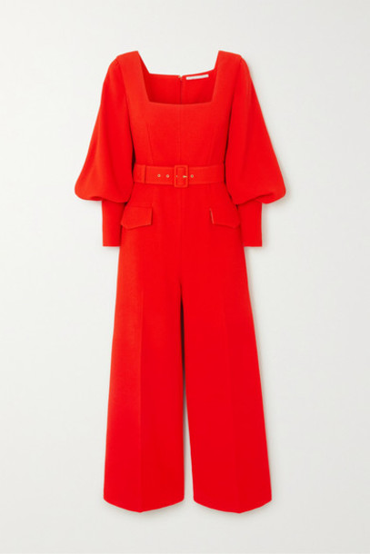 Emilia Wickstead - Patrice Belted Crepe Jumpsuit - Red