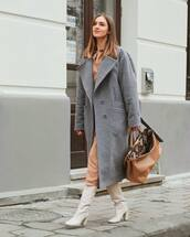 bag,brown bag,leather bag,fendi,white boots,knee high boots,heel boots,zara,grey coat,double breasted,midi dress