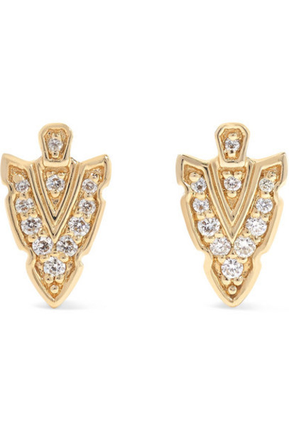 Sydney Evan - Tiny Arrowhead 14-karat Gold Diamond Earrings