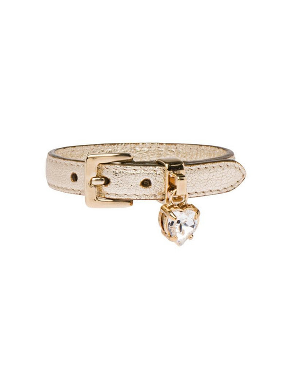 Miu Miu Madras leather bracelet with crystal in gold