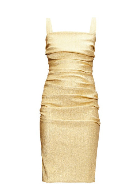 Dolce & Gabbana - Square-neck Ruched Lamé Dress - Womens - Gold