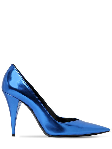 SAINT LAURENT 100mm Boop Metallic Leather Pumps in blue