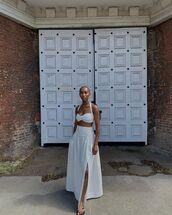 skirt,maxi skirt,slit maxi skirt,slit skirt,white skirt,matching set,crop tops