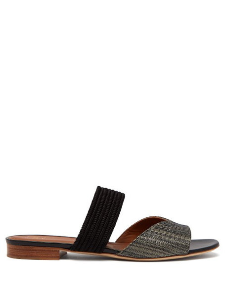 Malone Souliers - Rodena Woven Raffia And Canvas Slides - Womens - Dark Grey