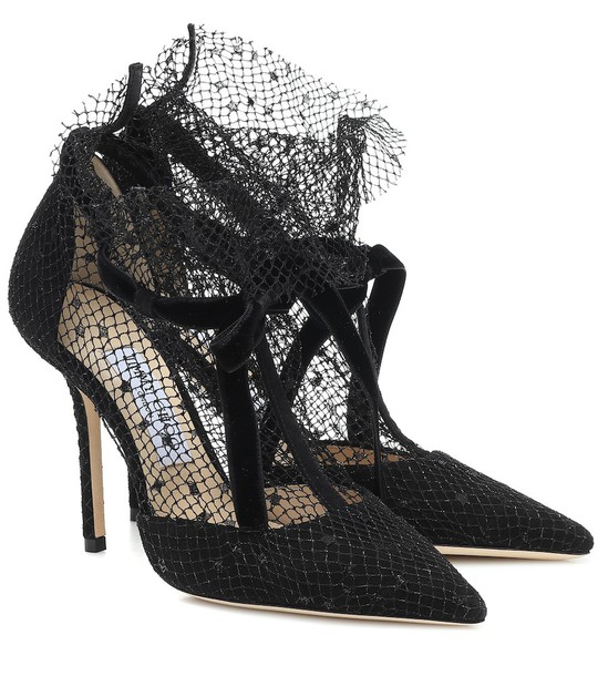 Jimmy Choo Fira 100 mesh and suede pumps in black
