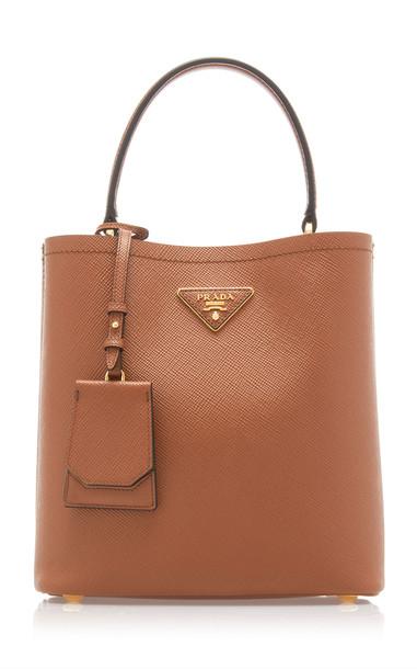 Prada City Leather Top Handle Bag in brown