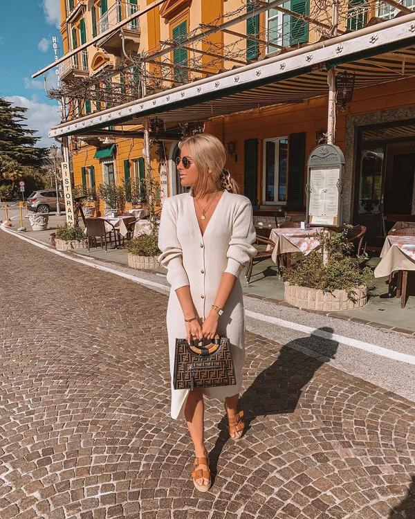 sweater long cardigan white cardigan flat sandals platform sandals handbag fendi