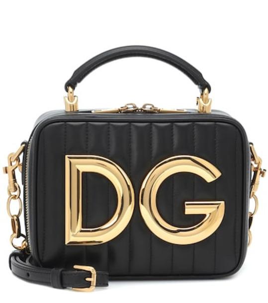 Dolce & Gabbana DG Girls Mini leather shoulder bag in black