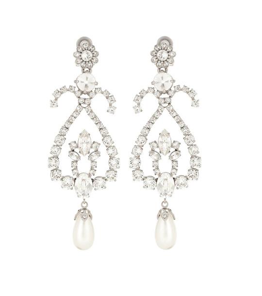 Miu Miu Crystal embellished clip on earrings in silver