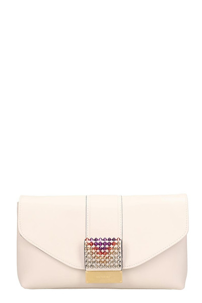 Visone White Leather Giselle Clutch Bag