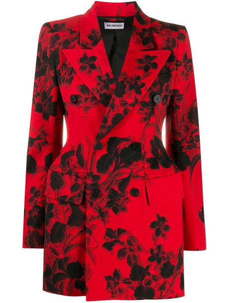 Balenciaga floral jacquard hourglass blazer in red