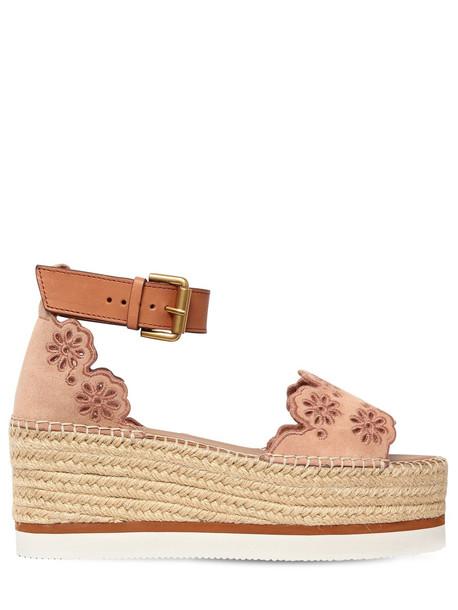 laser cut wedges suede blush shoes