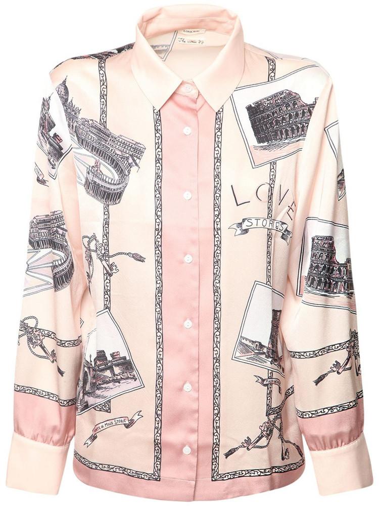 LOVE STORIES Lana Printed Satin Pajama Top in multi