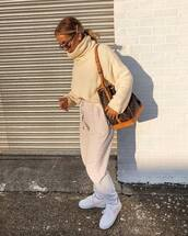 sweater,turtleneck sweater,camel,grey,joggers,white sneakers,trainers,nike sneakers,brown bag,louis vuitton bag