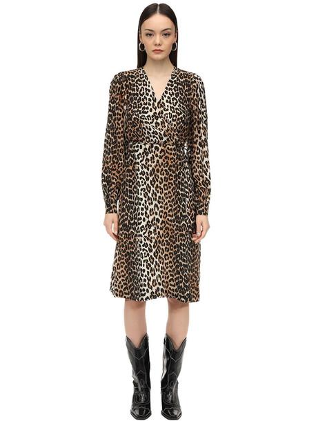 GANNI Leopard Printed Silk Blend Midi Dress