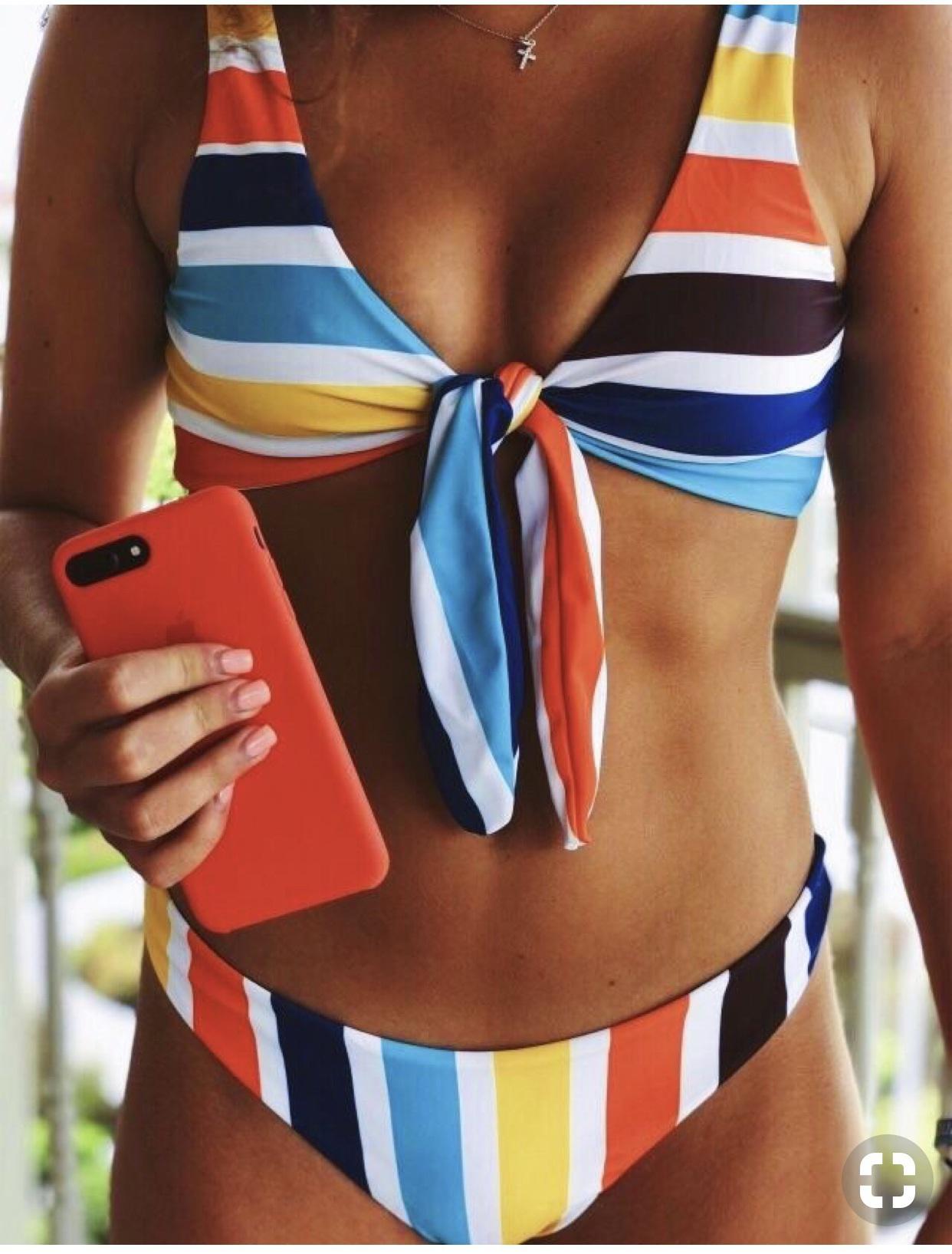 swimwear stripes red blue yellow bikini front tie bikini colorful brand tie dip swimwear bow low v-cut two-piece summer season ocean colorblocked