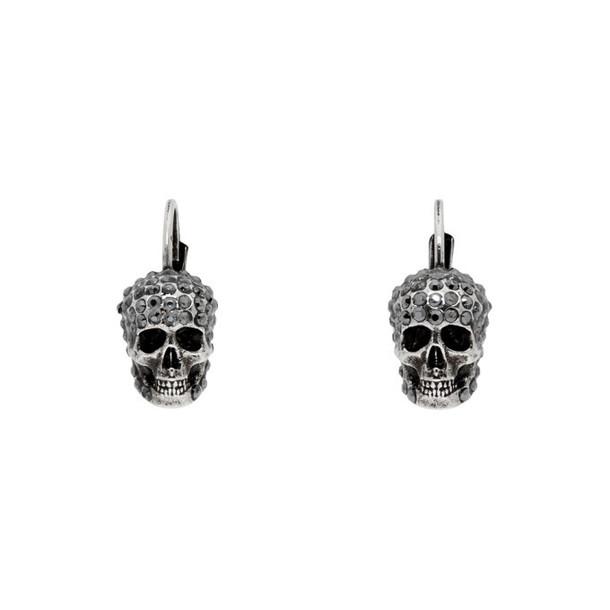 Alexander McQueen Silver Skull Hoop Earrings