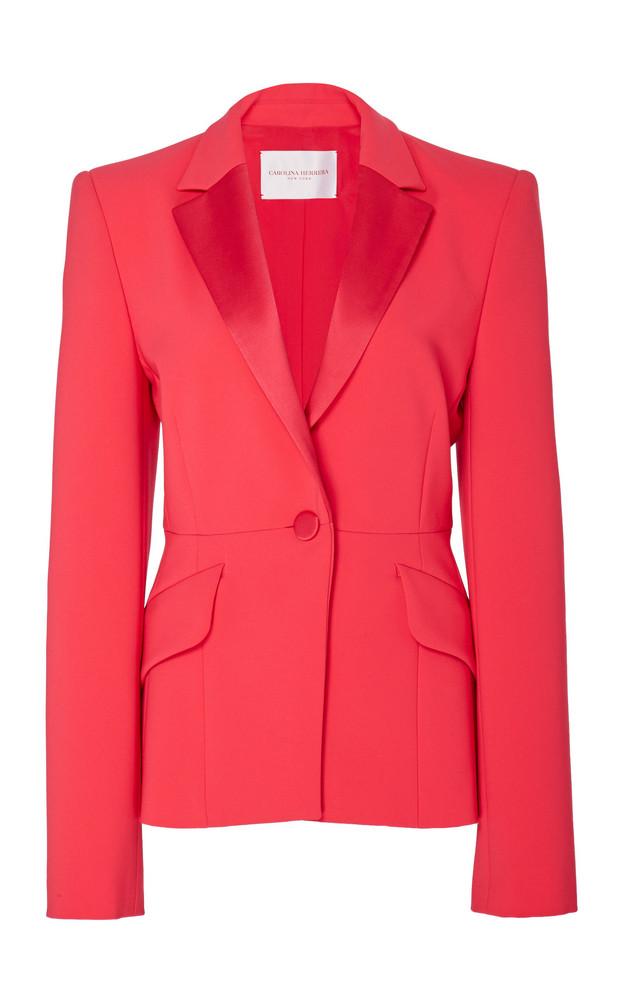 Carolina Herrera Satin-Trimmed Cady Blazer Size: 0 in red