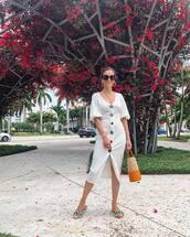 dress,white dress,midi dress,bodycon dress,flat sandals,shoulder bag,sunglasses