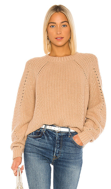 Autumn Cashmere Shaker Crew Sweater in Tan