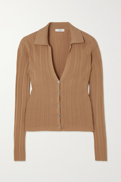 VINCE - Ribbed Cotton Cardigan - Neutrals