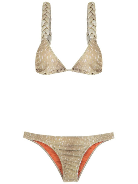 Adriana Degreas velvet bikini set in neutrals