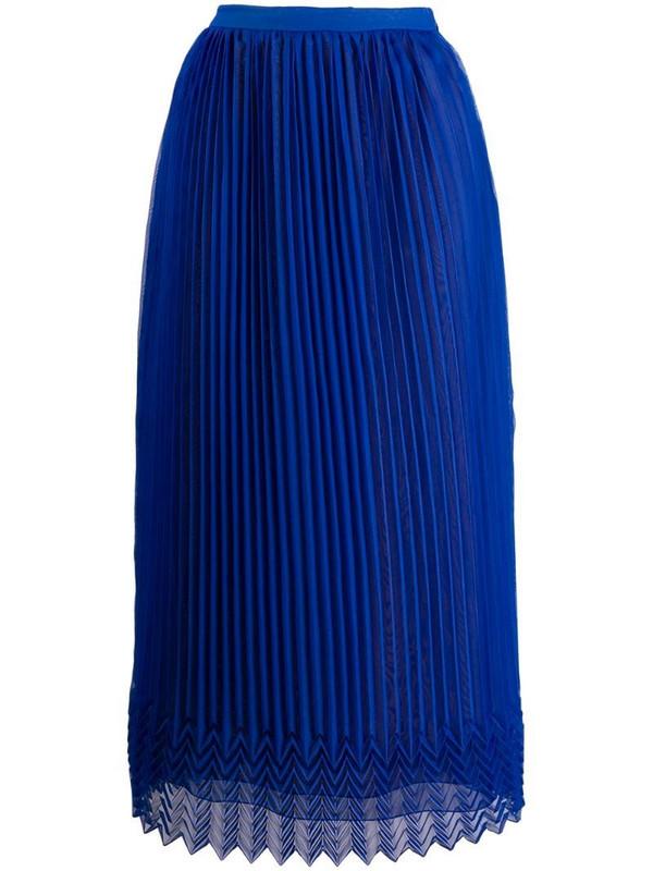 Marco De Vincenzo high-waist pleated skirt in blue