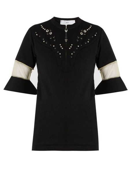 Toga - Embellished Yoke Fluted Cuff Top - Womens - Black