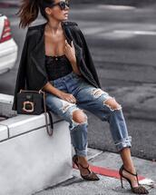 fashionedchic,blogger,underwear,jacket,jeans,shoes,sunglasses,bag,jewels,ripped jeans,prada bag,leather jacket,high heel pumps