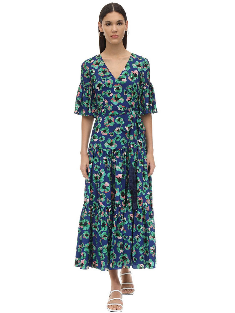 BORGO DE NOR Teodora Floral Print Techno Crepe Dress in blue
