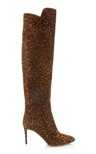 Aquazzura Gainsbourg Printed Suede Knee Boots