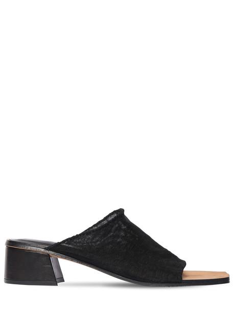 MIISTA 40mm Beck Mesh Mule Sandals in black
