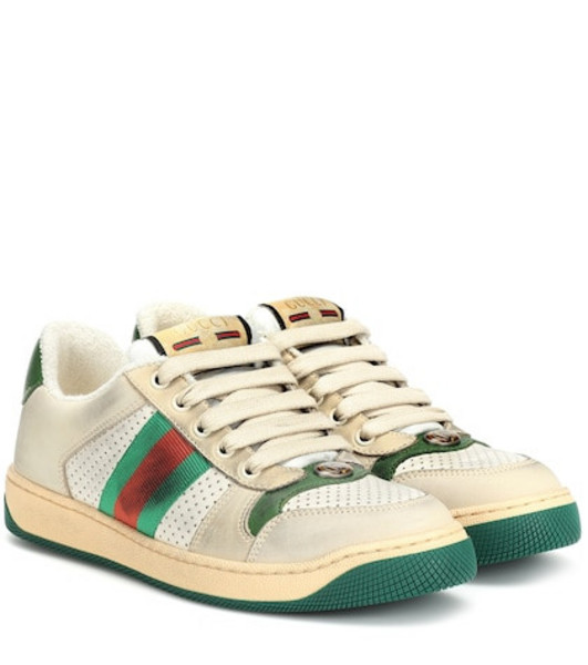Gucci Screener leather sneakers in white