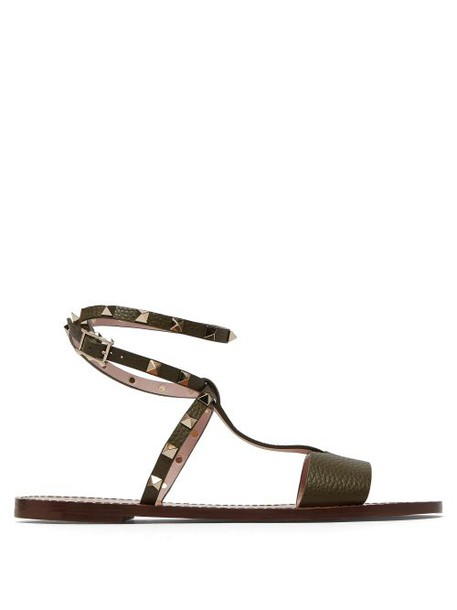 Valentino - Rockstud Ankle Strap Leather Sandals - Womens - Khaki