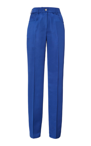 Helmut Lang Pleated Satin Trousers in blue