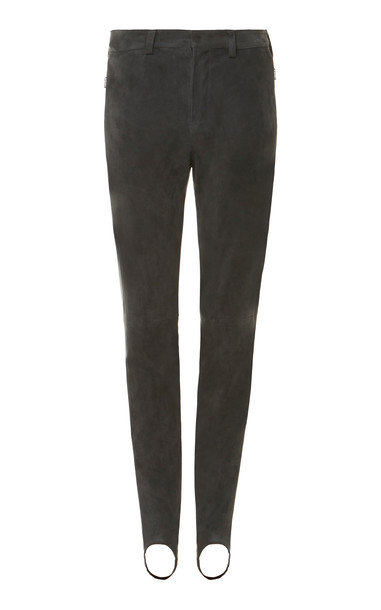 Bogner Sport Carla Stretch-Suede Stirrup Pants Size: 4 in grey