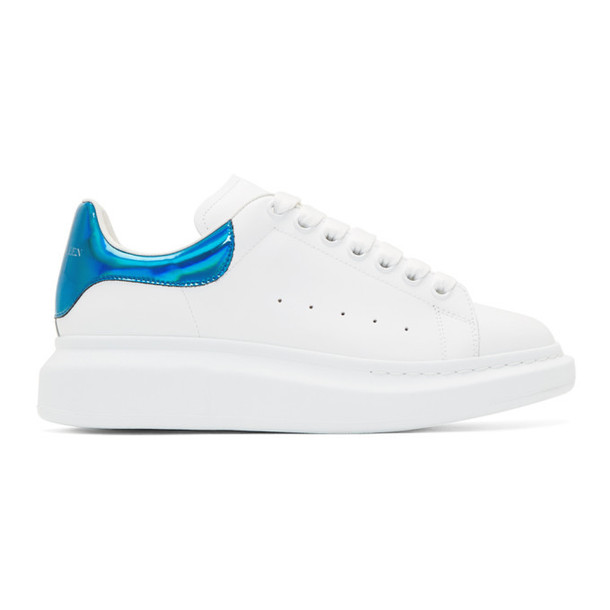 Alexander McQueen SSENSE Exclusive White & Blue Oversized Sneakers