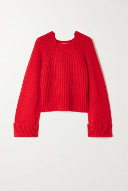 Stella McCartney - Cropped Ribbed Camel Hair Sweater - Red