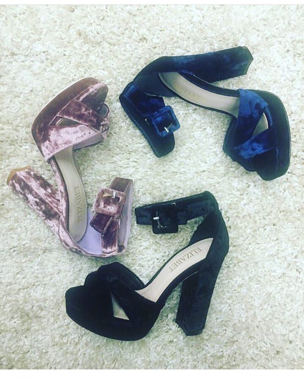 shoes suede blue black heels