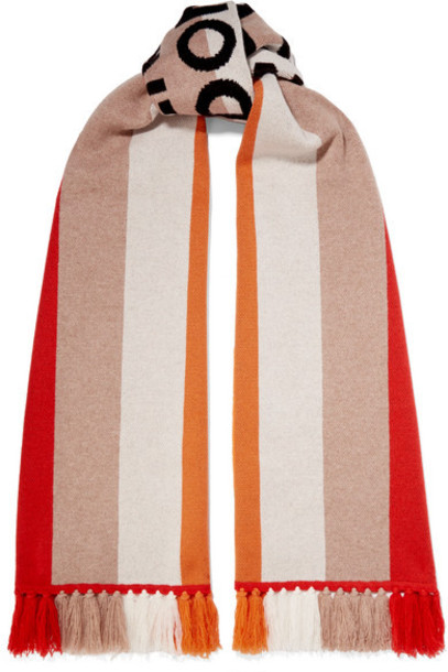Burberry - Fringed Intarsia Cashmere Scarf - Red