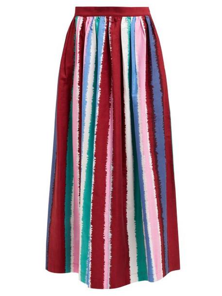 Le Sirenuse, Positano - Jane Striped Cotton Midi Skirt - Womens - Multi