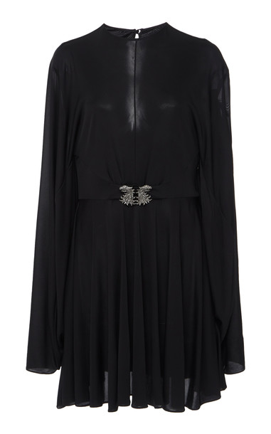 Valentino Belted Cape-Effect Chiffon Mini Dress in black