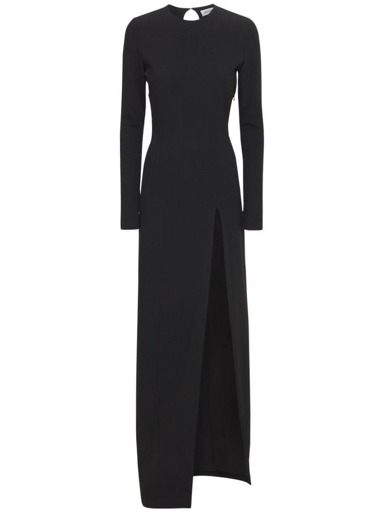 MÔNOT Petal-sleeved Crepe Long Dress in black