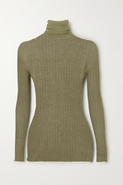 Paris Georgia - Ribbed Cotton Turtleneck Sweater - Army green