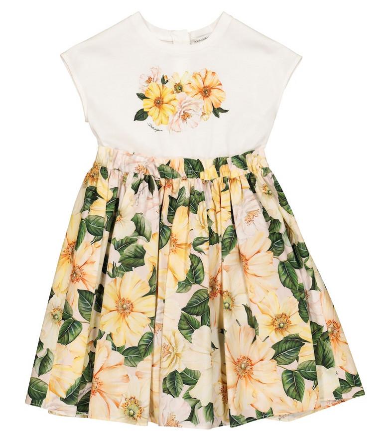 Dolce & Gabbana Kids Floral cotton dress in yellow