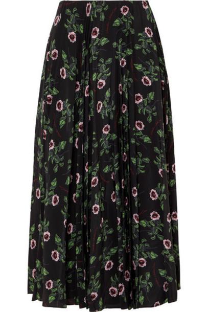 Valentino - Floral-print Pleated Silk-chiffon Midi Skirt - Black