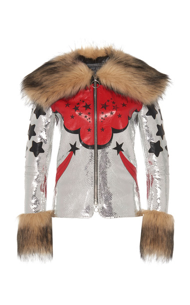 Paco Rabanne Fur Trimmed Leather Jacket in multi