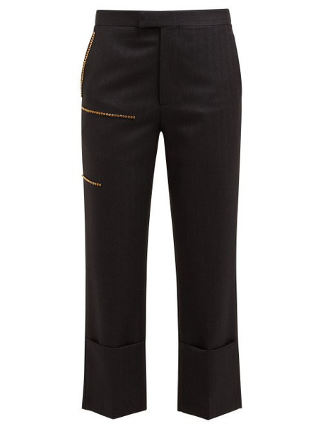 Raf Simons - Crystal Embellished Wool Twill Trousers - Womens - Grey Multi